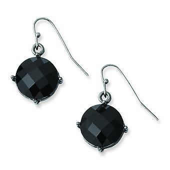 Époxy noir plaqué noir pierres Dangle Earrings