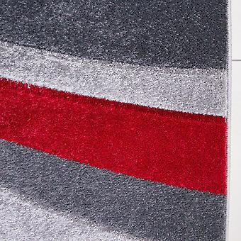 Contemporary Red & Grey Wave Runner Rug - Rio