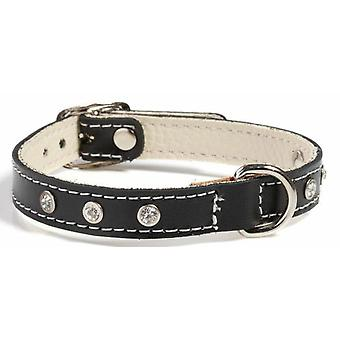 Doggy Things Fantasia Leather Dog Collar Black 45cm