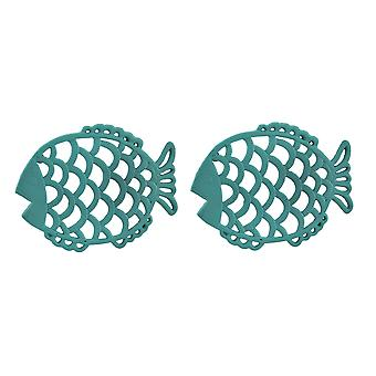 2 Piece Tropical Turquoise Blue Cast Iron Filigree Fish Decorative Trivet Set