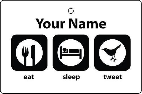 Personalised Eat Sleep Tweet Car Air Freshener