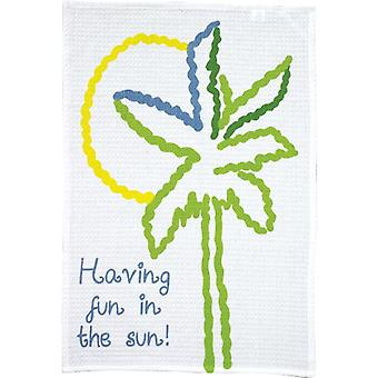Fun in the Sun Palm Tree Print Waffle Weave Dish Towel