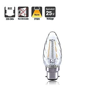 2R2/I1: : Twisted Candle 2W 250Lm B22 Filament Non-Dimmable 330� Beam Angle 2700K. ILCANDB22N048