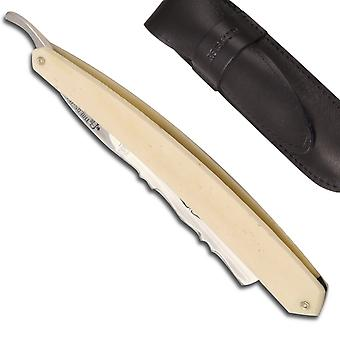 Historic Straight Razor 6/8 Bone handled - Forged decorated on the back of the blade Direct from France