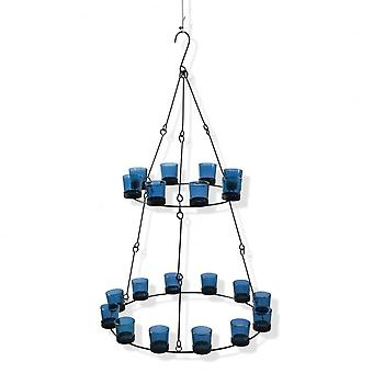 Boutique Camping 2 Tier Chandelier - Blue Coloured Glass