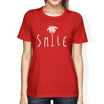 Smile Palm Tree Womens Round Neck Cute Tropical Palm Tree T-Shirt