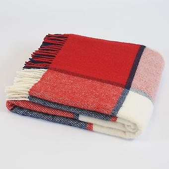 Tweedmill pura lana nuova Check di blocco Throw - Red/Navy/crema