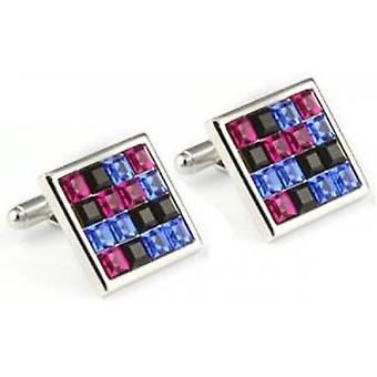 Mousie Bean Multi Square Crystal Cufflinks - Multi-colour