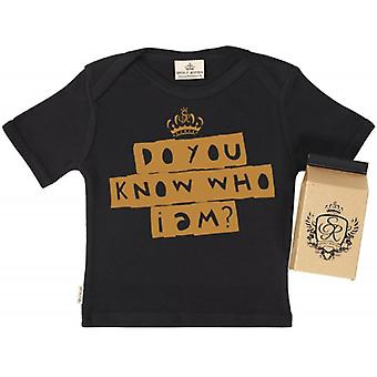 Spoilt Rotten Do You Know Who I Am? Babys T-Shirt 100% Organic In Milk Carton