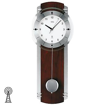 Radio controlled wall clock clock radio clock wood pendulum clock chrome 23 x 58 cm AMS