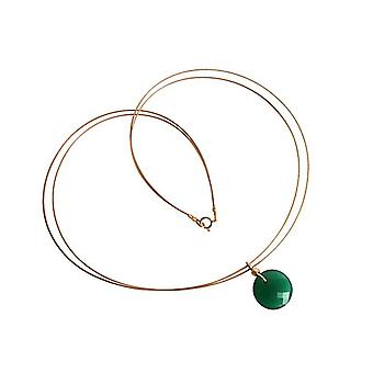 Gemstone necklace gemstone green Onyx necklace gold plated