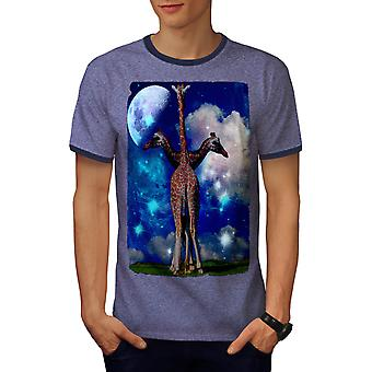 Giraffe Abstract Fashion Men Heather Blue / Navy Ringer T-shirt | Wellcoda