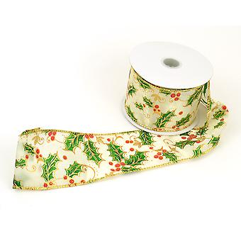 Cream Organza Wired Ribbon Christmas Holly Berry - 60mm x 10M