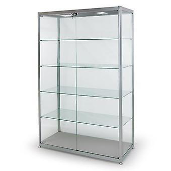 Silver Glass Display Cabinet with 2 LED Lights - 1200mm
