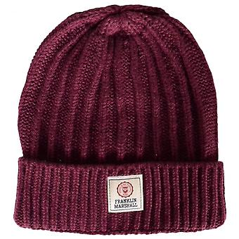 Franklin & Marshall Ua910 Ribbed Bordeaux Beanie Hat