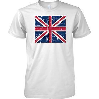Union Jack British Distressed Grunge Effect Flag Design - Mens T Shirt