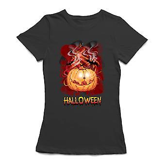 Halloween  Possessed Pumpkin Women's Black T-shirt