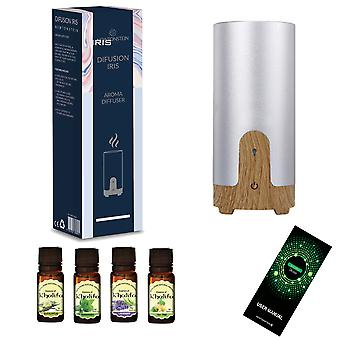 Difusian IRIS -  Ultrasonic Aroma Therapy Essential Oil Diffuser + 4 FREE 10mL Essential Oil Bottles Included (Tea Trea Peppermint Lavender and Eucalyptus) - Travel Size for Car Cup Holders USB Powered and Tabletop Electric for Home Yoga Office Spa Bedroom Baby Room Etc.