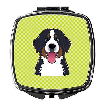 Checkerboard Lime Green Bernese Mountain Dog Compact Mirror