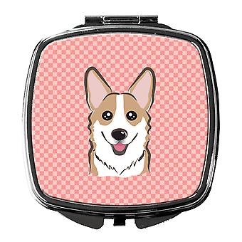Carolines Treasures  BB1253SCM Checkerboard Pink Corgi Compact Mirror