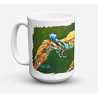 Go Green Crab Dishwasher Safe Microwavable Ceramic Coffee Mug 15 ounce