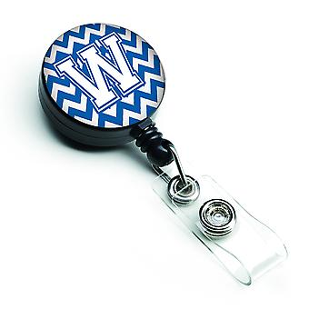 Letter W Chevron blauw en wit intrekbare Badge Reel