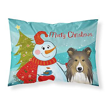 Snowman with Sheltie Fabric Standard Pillowcase