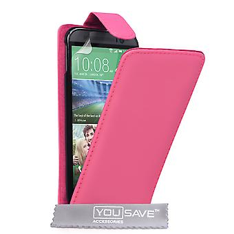 HTC One M8 ecopiel Flip Case - rosa