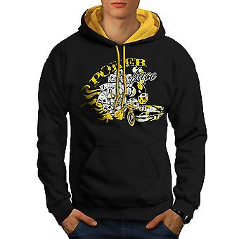 Poker Skull Car Gamble Men Black (Gold Hood)Contrast Hoodie | Wellcoda