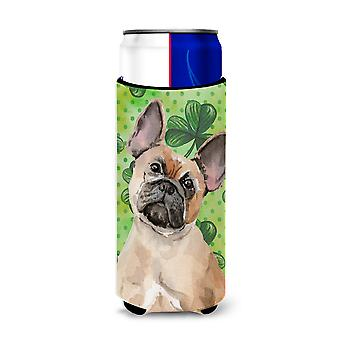 Fawn French Bulldog St. Patrick's Michelob Ultra Hugger for slim cans
