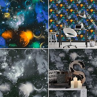 Space Cosmic Planets Stars Wallpaper Night Sky Universe Glow In Dark AS Creation