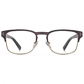 Hook LDN Holt Stainless Steel Keyhole Rectangle Glasses In Matt Gunmetal