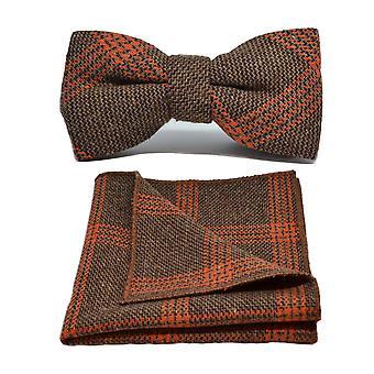 Birdseye marrón y naranja galletas Check pajarita y conjunto Plaza de bolsillo