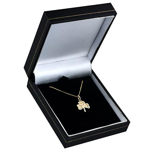 9ct Gold 13x13mm plain Shamrock Pendant with a curb Chain 16 inches Only Suitable for Children