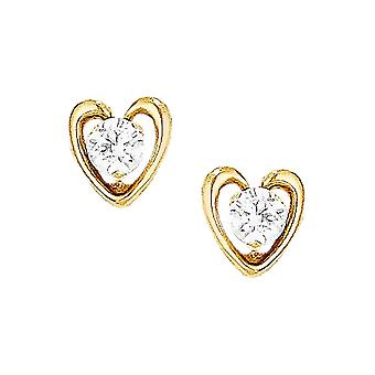 14k Yellow Gold White Synthetic Cubic Zirconia Heart Halo Stud Earrings