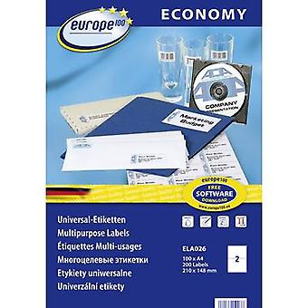 Europe 100 ELA026 Labels (A4) 210 x 148.5 mm Paper White 200 pc(s) Permanent All-purpose labels Inkjet, Laser, Copier