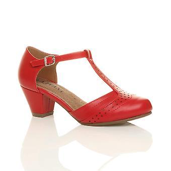 Ajvani Womens Mitte niedrigen Block Ferse Schlepplift Brogue Komfort Kautschuk einzige Gericht Schuhe Sandalen