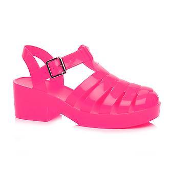 Ajvani Womens niedrigen mittleren Block Ferse Kautschuk Gelee Gladiator ausgeschnitten Retro-Sandalen Schuhe