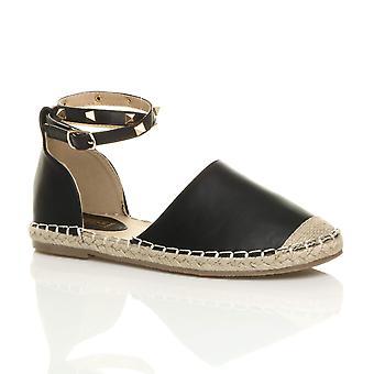 Ajvani womens flat studded ankle strap espadrilles summer shoes sandals