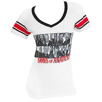 Sons Of Anarchy Group Photo Women's Striped Sleeve Tee Shirt