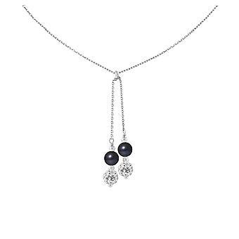 Mulher em prata maciça 925/1000 e 2 pérolas de cultura de água doce cristal preto e branco do colar