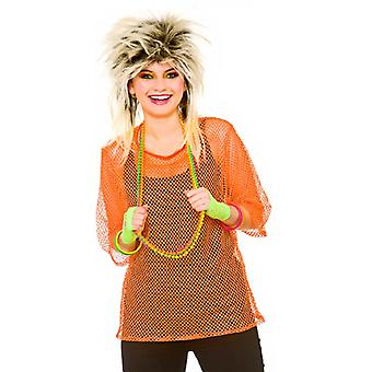 Adults 80's Rave Disco Neon Orange Mesh Top Fancy Dress Accessory - Plus Size