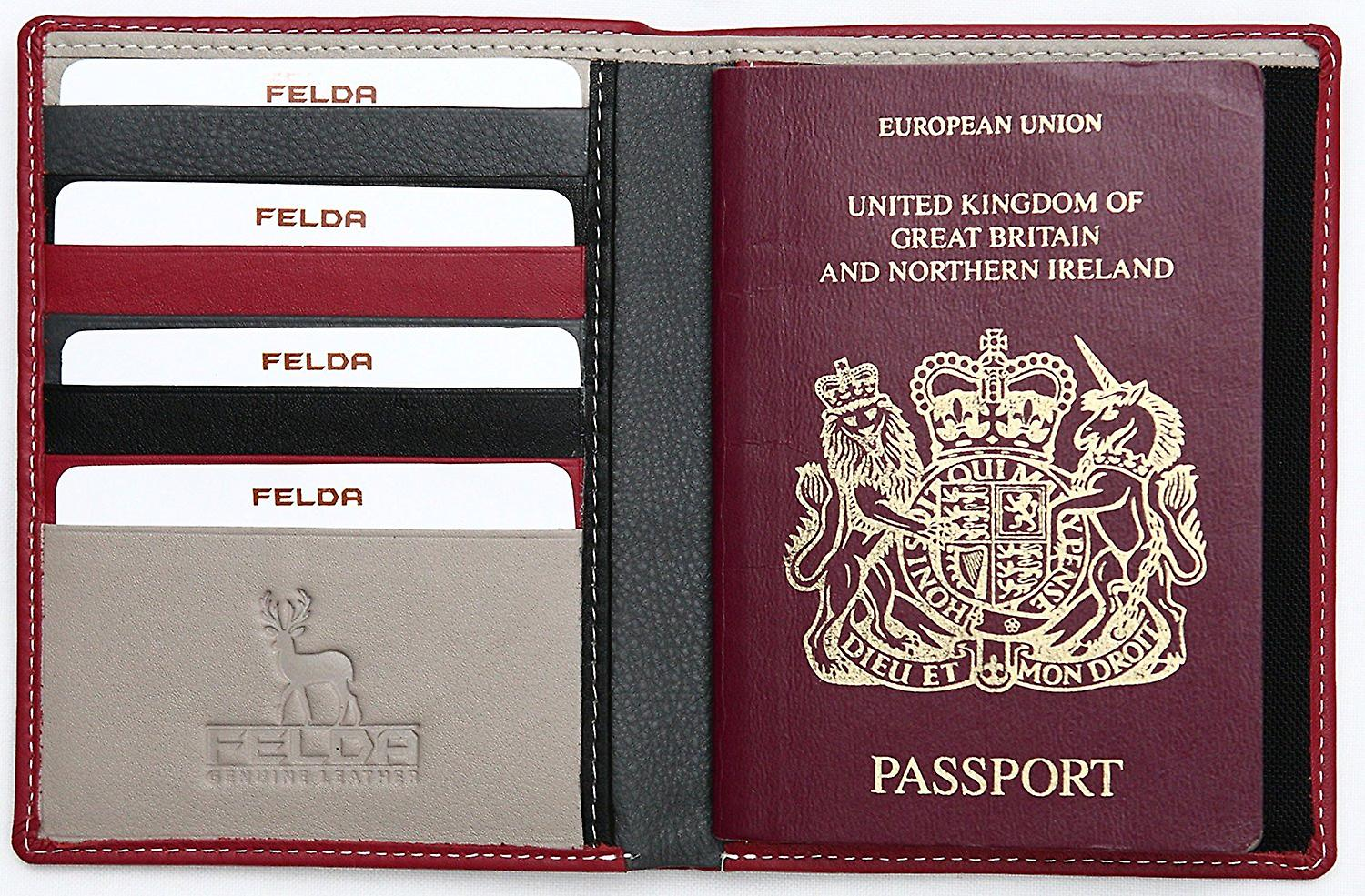 Rfid Leather Passport Cover Holder Travel Wallet With Credit Card Organizer (Black)