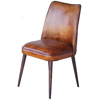 Decoración Vintage Totem Leather Chair And Wooden Legs