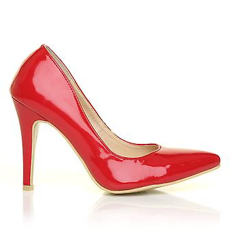 DARCY Red Patent PU Leather Stilleto High Heel Pointed Court Shoes
