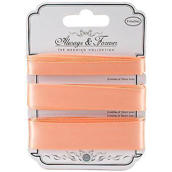 Craft Consortium Always & Forever Satin Ribbon 3yd 3/Pkg-Peach AFSRBN07