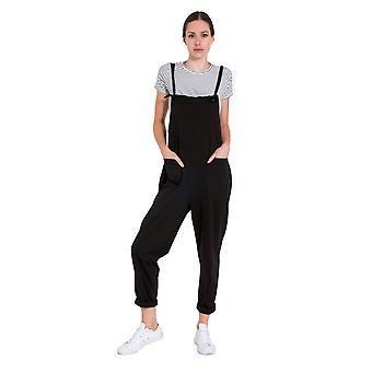 Ladies Jumpsuit - Black Jersey All-in-one Playsuit