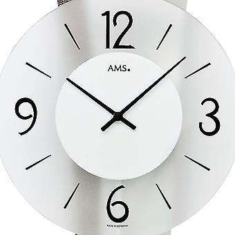 AMS 7426 wall clock pendulum wooden rear wall mineral glass crystal