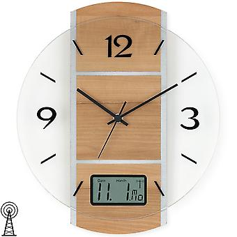 Wall clock radio digital date display case core beech / silver