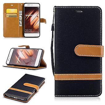 Tas voor Huawei P10 jeans cover mobiele telefoon beschermhoes case zwart